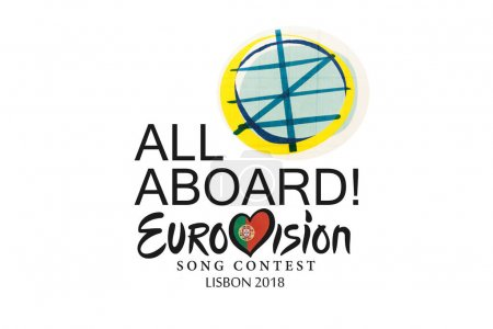 Lisbon, April 24, 2018: illustration Eurovision Song Contest 2018 Lisbon on a white background.