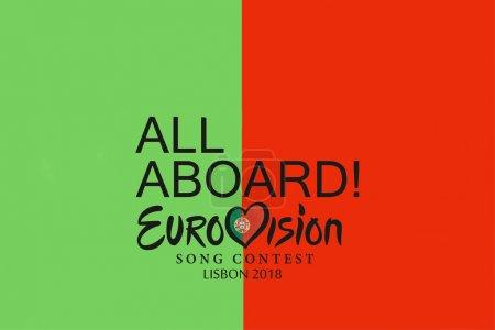 Lisbon, April 24, 2018: illustration Eurovision Song Contest 2018 Lisbon.