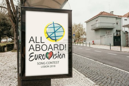 Lisbon, April 24, 2018: Photo of the image with official Eurovision symbols Eurovision Song Contest 2018 Lisbon. A poster on the city street.