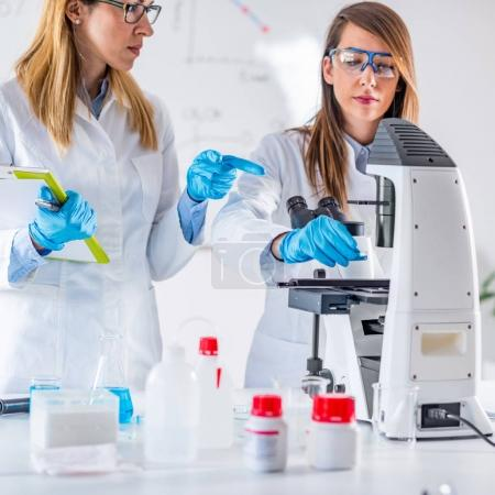 Female students researching samples in laboratory