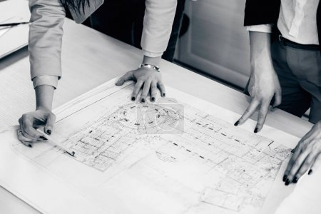 Female architects working in office