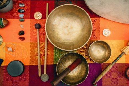 top view of Tibetan singing bowls