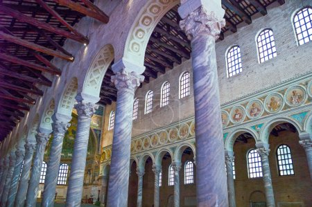Photo for Ravenna, Italy - March 1, 2012: The aisle of S.Apollinare in Classe basilica - Royalty Free Image