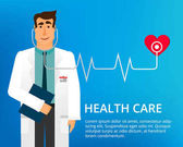 Flat design doctor Handsome doctor with stethoscope and many different medical icons Cardiologist Dr Vector illustration can be used in the brochures and websites