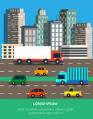 Vector illustration in modern flat style with traffic jam in a big city Skyscrapers on a background with a roads and a lot of cars and trucks For web banners and info graphic