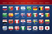 Football World Championship 2018 Groups Vector Country Flags