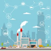 smart factory and around it icons Smart factory or industrial internet of things vector illustration