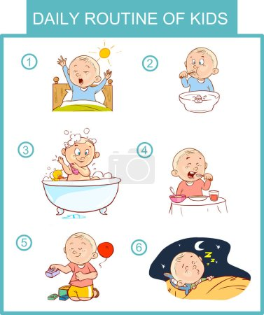 daily routine of kids vector illustration