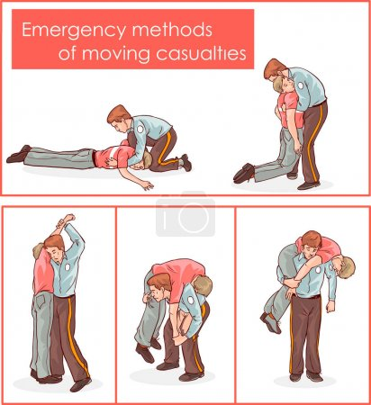 Illustration for Vector illustration of a emergency methods of moving casualties - Royalty Free Image