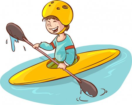 cartoon boy with a canoe. vector illustration
