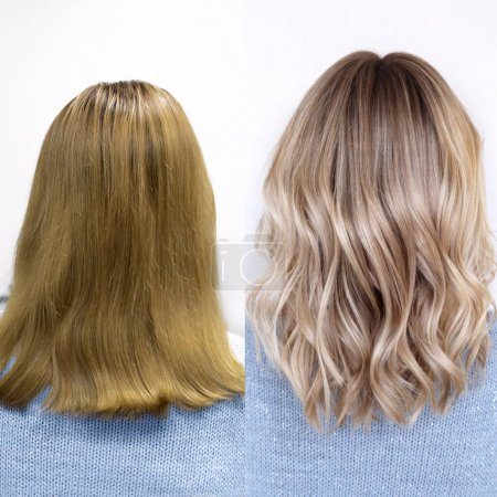 Photo for Before and after complex staining exit from yellow to beautiful light blond. Professional hairstylist - Royalty Free Image