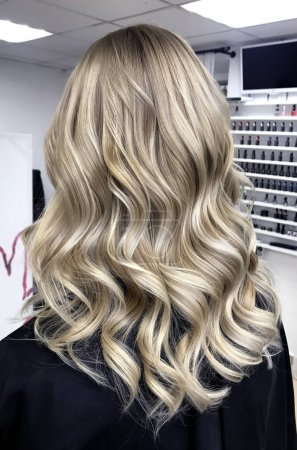 Photo for Long blond hair with balayage , curly style - Royalty Free Image