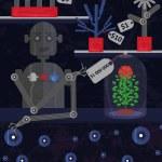 A robot who sells artificial cheap plants show a u...