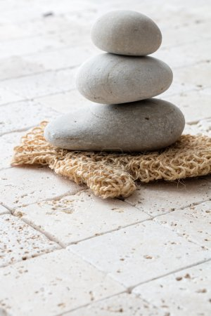 Concept of purity, beauty and massage over feng shui limestone