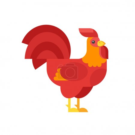 Vector flat style illustration of red rooster symbol of 2017.