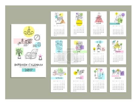 hand drawn interior calendar