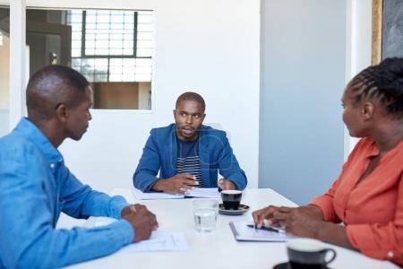 African businessman talking
