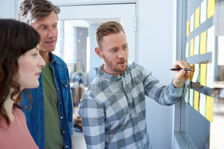 Photo for Three casually dressed office colleagues brainstorming on a glass wall with sticky notes while standing together in a modern office - Royalty Free Image