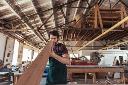 Skilled young craftsman wearing an apron inspecting plank of wood for quality while working alone in his woodworking workshop