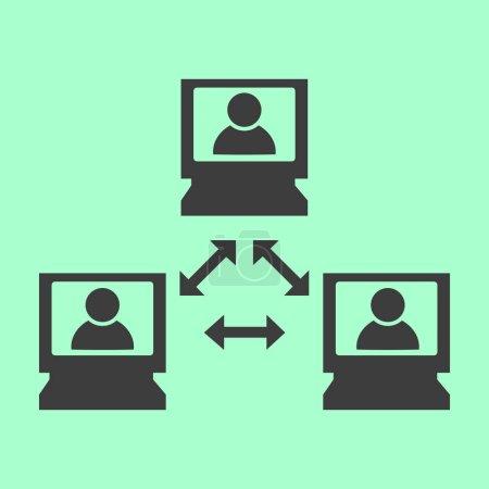Illustration pour Icône vectorielle de vidéoconférence - image libre de droit