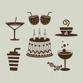 Sweet desserts and drinks vector illustration