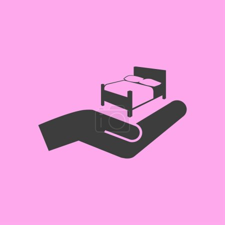 Bed and hand icon