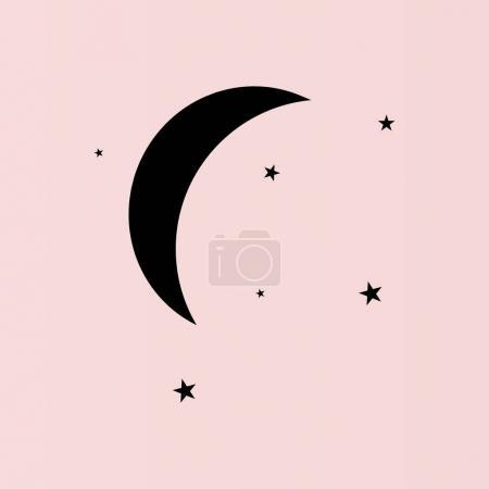 Moon & stars flat icon