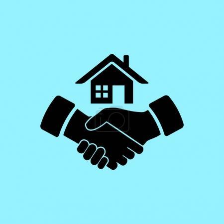 house and handshake  icon
