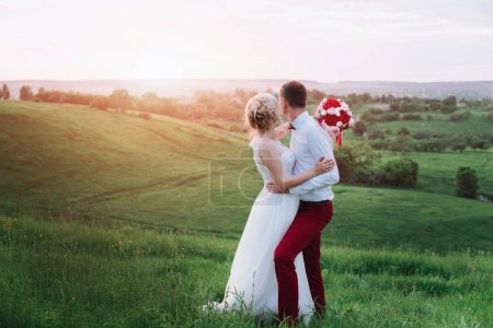 Young beautiful wedding couple hugging in a field back to camera.
