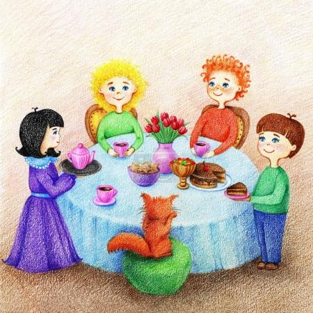 Photo for Hands drawn picture of four children and red cat are at a festive table drink tea with a sweet food on a dining room by the color pencils - Royalty Free Image