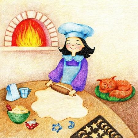Photo for Hands drawn picture of little girl standing at the table on a kitchen and prepares a pie and red cat sleeps on a green pillow by the color pencils - Royalty Free Image