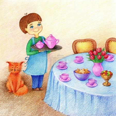Photo pour Mains dessinées image de petit garçon tient un plateau avec du thé debout près de la table et chat rouge sur une salle à manger par les crayons de couleur - image libre de droit
