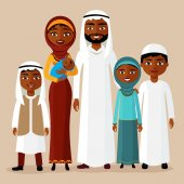Arab family muslim arab people saudi cartoon man and woman Arab father mother son daughter grandmother and grandfather standing together and smile