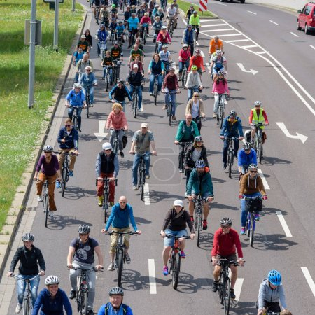 Bicyclists' parade in Magdeburg, Germany am 17.06.2017. Many people of different ages ride bicycles in city center.
