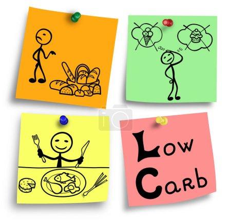 Photo pour Simple illustration d'ingrédients de glucides faible alimentation système. - image libre de droit
