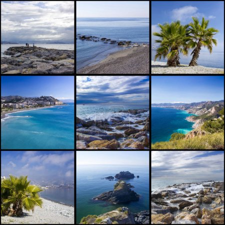 Photo pour Collage de photos avec lieux d'Andalousie en Espagne - image libre de droit