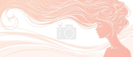Illustration pour Illustration vectorielle. Belle silhouette de femme aux cheveux longs sur fond rose. Concept design pour salons de beauté, spa, cosmétique, industrie de la mode et de la beauté . - image libre de droit