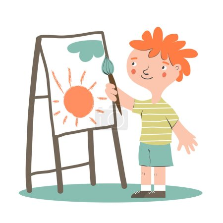 Illustration for Vector illustration design of Smiling kid artist painting on canvas and holding brush - Royalty Free Image