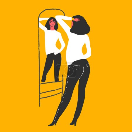 Illustration for Vector illustration design of Narcissistic woman character looks at mirror - Royalty Free Image
