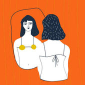 Vector illustration design of Narcissistic woman character looks at mirror