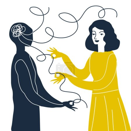 Illustration for Vector illustration design of Psychotherapy and psychology concept - Royalty Free Image
