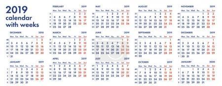 2019 calendar grid with weeks vector illustration