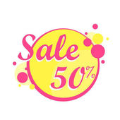 Colorfull Sale icon in a circle poster banner Big sale clearance 50 off Vector illustration