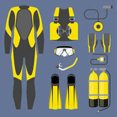 Set of diving equipment icon Wetsuit scuba gear and accessories Underwater activity sports item Vector isolated on white background
