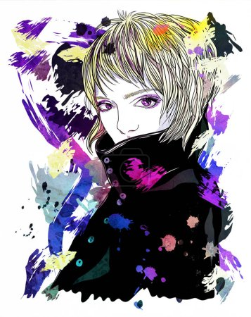 Photo for Portrait of a girl in a coat. A girl with short blonde hair. Fashion illustration on abstract background.  Print for T-shirt - Royalty Free Image