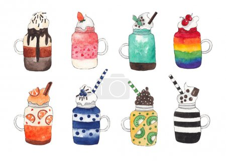 Photo for Set of fruit and chocolate mousses. Cocktails, smoothies. Watercolor illustration on white isolated background - Royalty Free Image