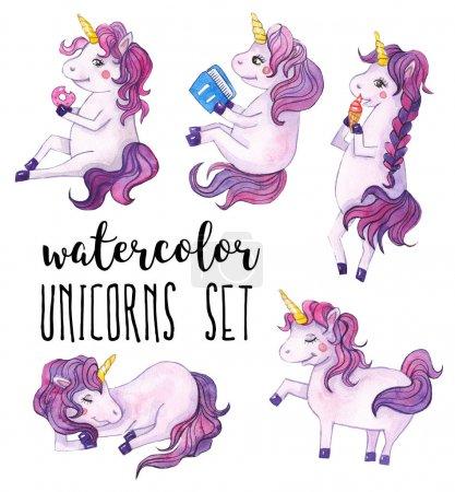 Cute unicorns set. Watercolor illustration on white isolated background