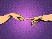 Adam and God hands Pop Art vintage vector illustration