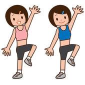 Girl to do aerobics