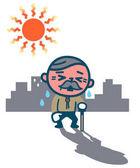 Idős férfi szenved a hőguta